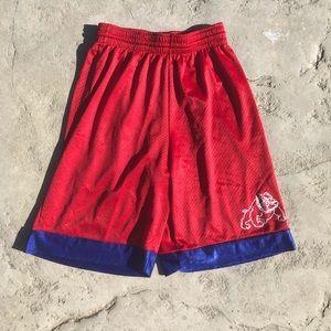 Fresno Bull Dogs red blue basketball shorts